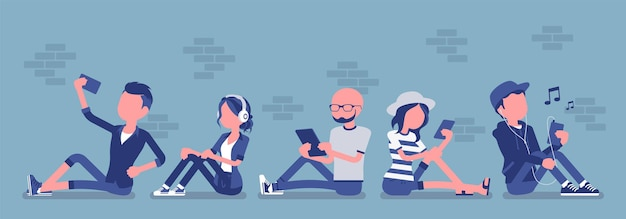 Young people with gadget. diverse group sitting using smartphone, tablet for messaging services, email, video calls, social networking apps, taking selfie. vector illustration with faceless characters