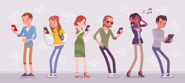 Young people with gadgets standing using smartphone to call, play games, watch movies, listen to music, communicate with friends via text messages, video chats