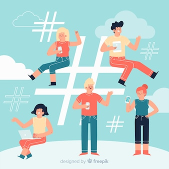 Young people with hashtag symbol