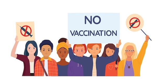 Молодые люди с плакатами, протестующими против обязательной вакцинации векторные иллюстрации
