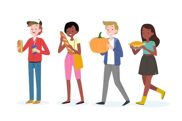 Young people with pumpkin and pie