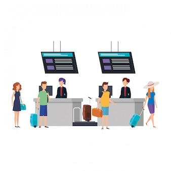 Молодые люди с чемоданами в аэропорту