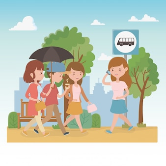 Young people with umbrella walking in the park characters