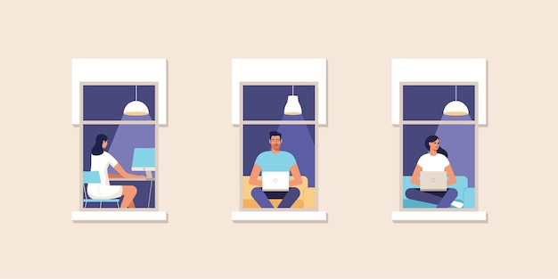 Young people working at home at the computer. work at home. online study, education. facade of house with a window. illustration.