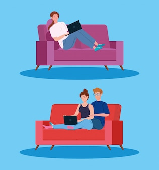 Young people working in telecommuting illustration