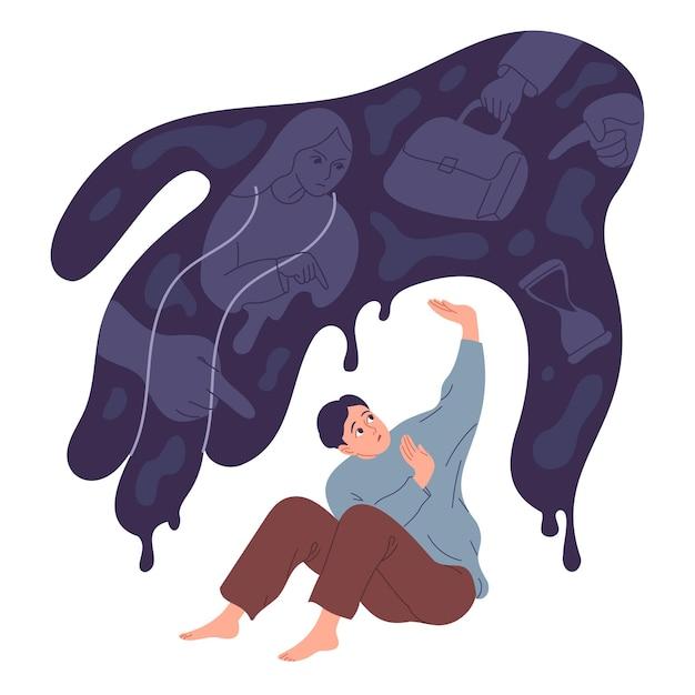 Молодой человек испытывает страх и давление внешних обстоятельств.