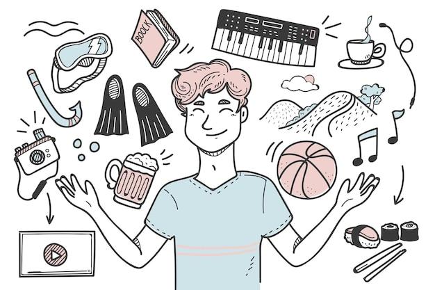 Молодой человек с хобби и интересами проиллюстрирован