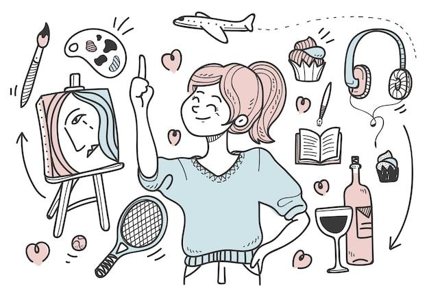 Giovane con hobby e interessi illustrati