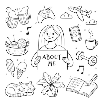 Young person with hobbies and interests illustrated