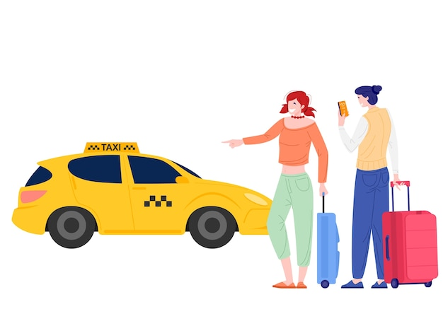 Young persons order taxi through app in flat design