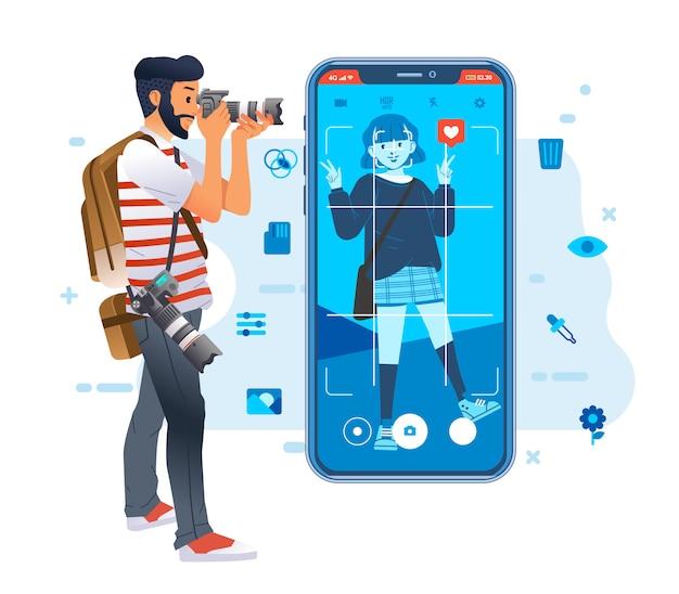 アイコンとスマートフォンのイラストの周りのソーシャルメディアイメージのファッショナブルな少女の写真を撮る若い写真家の男。ポスター、ウェブサイトの画像などに使用