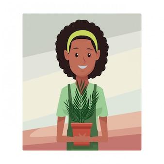 Young planter woman cartoon