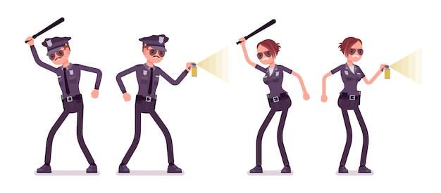 攻撃と防御の若い警察官