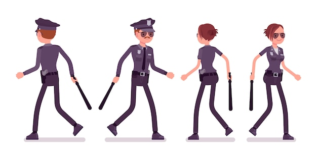 Young police officers walking