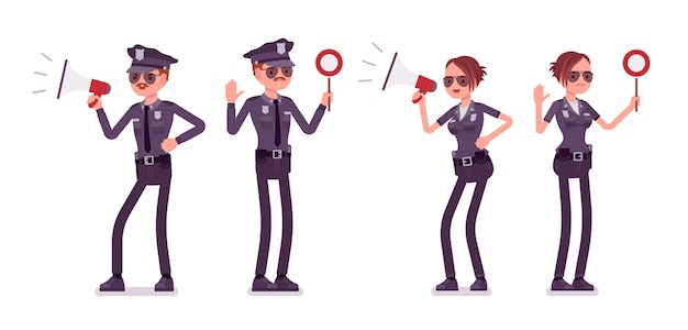 Young police officers with signals