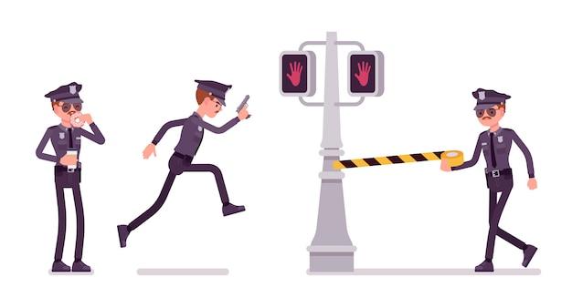도시에서 범죄를 조사하는 젊은 경찰관