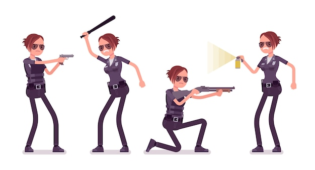 Young policewoman at attack and defense banner