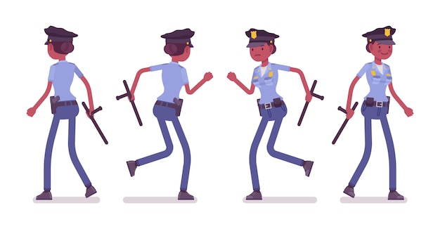 Young policewoman walking and running