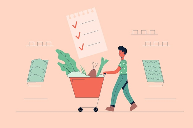 Young positive man cartoon character carrying fresh healthy vegan ingredients in shopping trolley bag in supermarket for cooking balanced meals