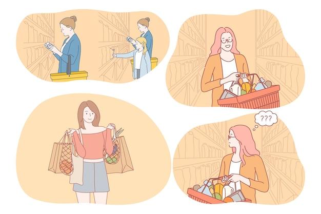 スーパーマーケットの棚に沿って歩く若いポジティブな女性の漫画のキャラクター