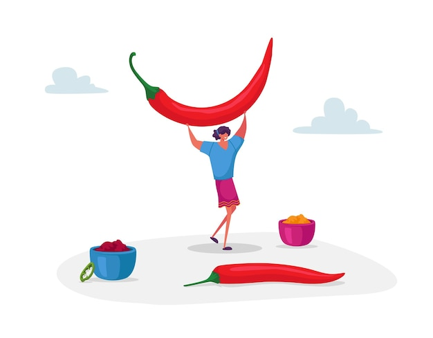 Young positive woman holding huge red chili jalapeno pepper above head and bowls with meal around