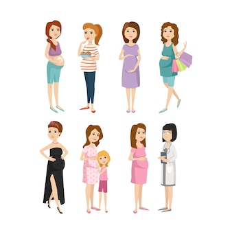 Young pregnant woman character