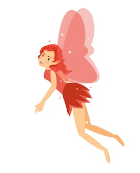 Young pretty angelic fairy girl flying in her red costume