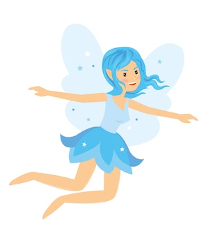 Young pretty angelic fairy girl flying and rise her hands
