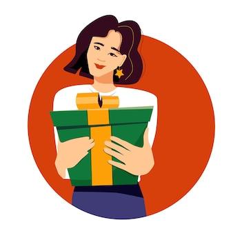 黄色いリボンのギフトボックスを持っている若いきれいなアジアの女性ギフトを贈ったり受け取ったりして購入する