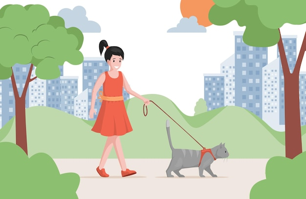 Young pretty girl in red dress walking in city park with cat flat illustration.