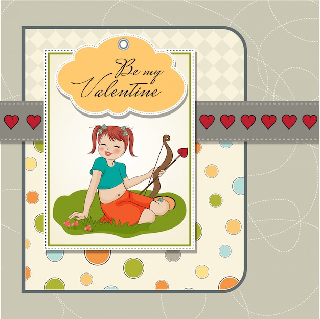 Young pretty girl with cupid bow. valentine's day card