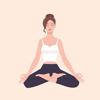 Молодая милая женщина выполняя тренировку йоги. женский мультипликационный персонаж, сидя в позе лотоса и медитации. девушка со скрещенными ногами изолированы. красочная плоская иллюстрация.
