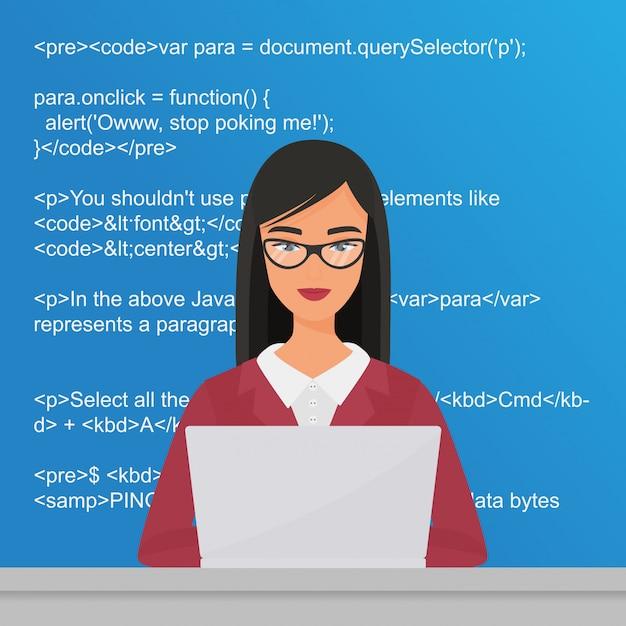 デスクトップに座ってラップトップに取り組んでいる若いきれいな女性プログラマー。コーダーコーディングフラットイラストコンセプト。