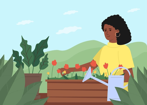 Young pretty woman takes care of flowers and plants outdoor. gardening as a female relaxing hobby.