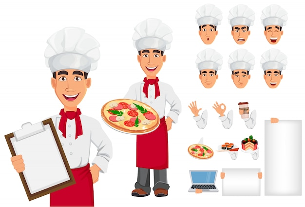 Young professional chef in uniform and cook hat, set