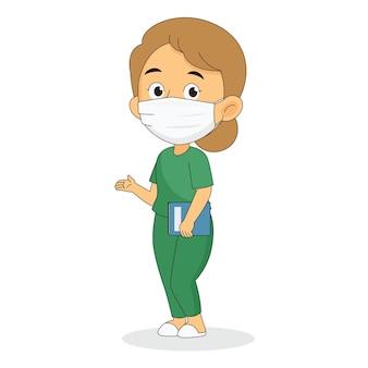 Молодой профессиональный врач в маске защищает вирус короны