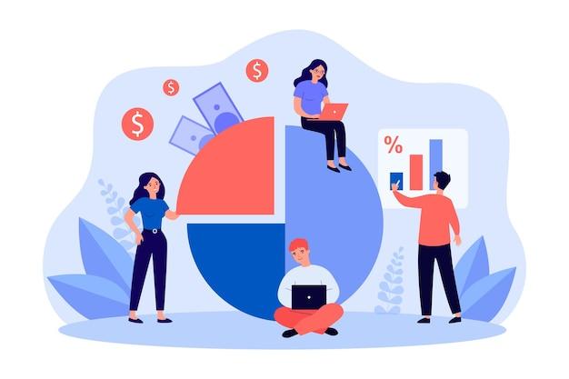 온라인에서 팀으로 일하는 젊은 전문가. 평면 벡터 일러스트 레이 션. 통계를 공부하고 수익을 늘리고 돈을 받는 남녀. 비즈니스, 온라인, 웹 기술, 팀워크 개념