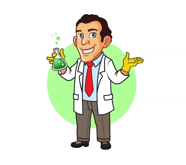 Young professor holding beak cartoon mascot