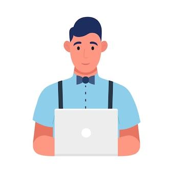 仕事で若いプログラマー、ウェブ開発の概念。フリーランサーはプログラミングコードです。 web、インフォグラフィックに使用します。ベクトルイラスト。