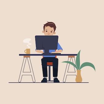 노트북으로 책상에서 일하는 젊은 프로그래머 사업가 프리랜서