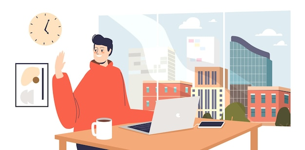 Young programmer, designer or web developer work on laptop in modern coworking center, wave hand to team coworkers. open space office concept. cartoon flat vector illustration