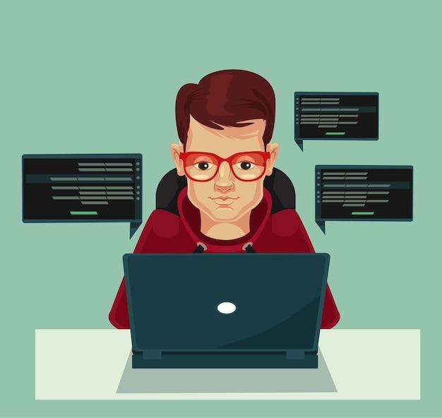 젊은 프로그래머 남자 캐릭터 코딩 플랫 만화 일러스트 레이션