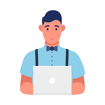 Young programmer at work, web development concept. freelancer is programming code. use for web, infographics. vector illustration.
