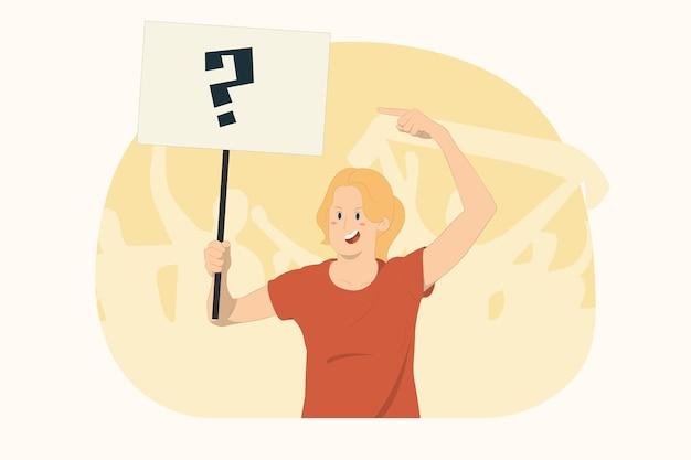 젊은 항의하는 여성은 항의 표지판 브로드시트 현수막 개념에 검지 손가락을 가리킵니다.