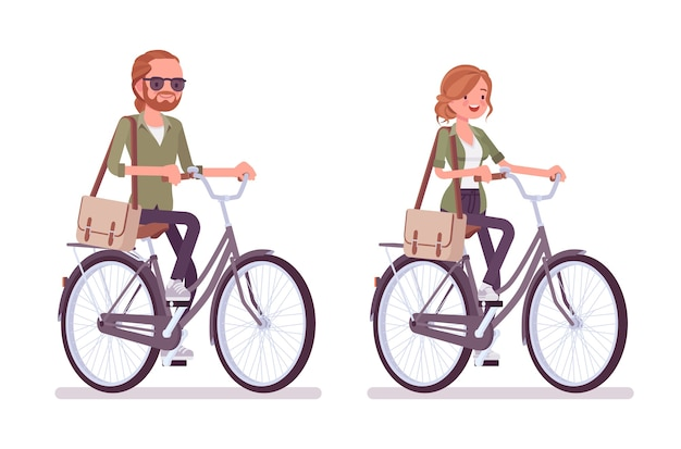 自転車に乗る若い赤毛の男と女