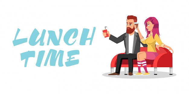 Young redheaded bearded man and girl with pink hair in knee highs sitting on sofa and drinking beverages. colleagues or loving couple having meal period, dinner break together. lunch time lettering.