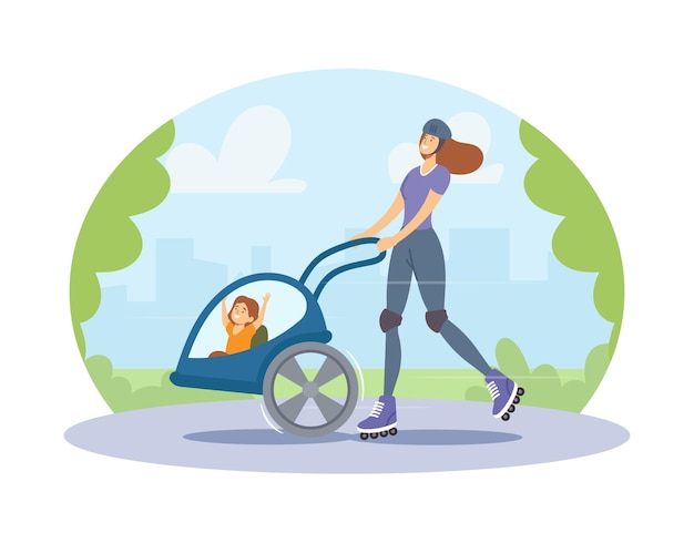 Young roller woman with child in stroller riding in city park. active family characters enjoying ride open air. healthy lifestyle, eco transportation, spare time. cartoon people vector illustration
