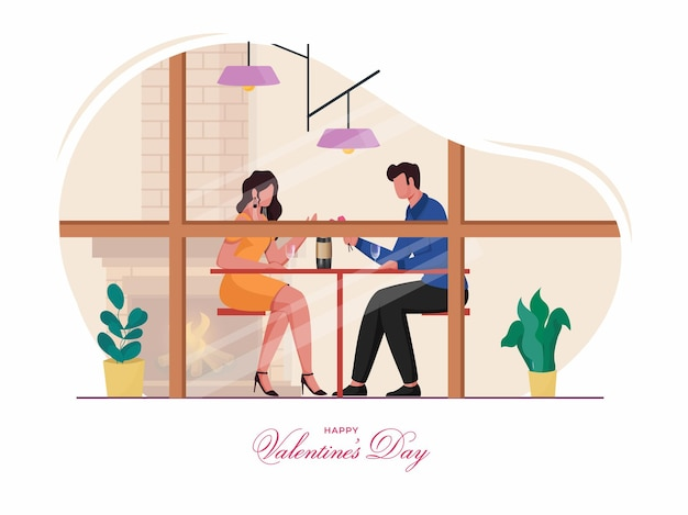 해피 발렌타인 데이 개념의 경우 집에서 날짜를 축하하는 젊은 로맨틱 커플