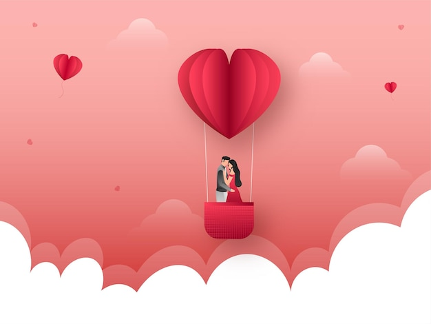 Young romantic couple in paper heart shape hot air balloon on red and white clouds background