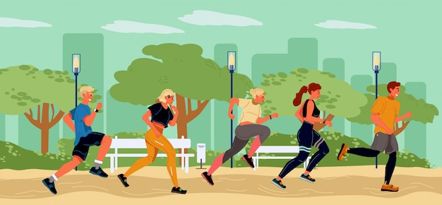 Young runners spending time in summer park. healthy, active, sportive lifestyle, marathon. student, girl, guys running in line. preparation for beach season. goal to get fit. vector flat illustration.